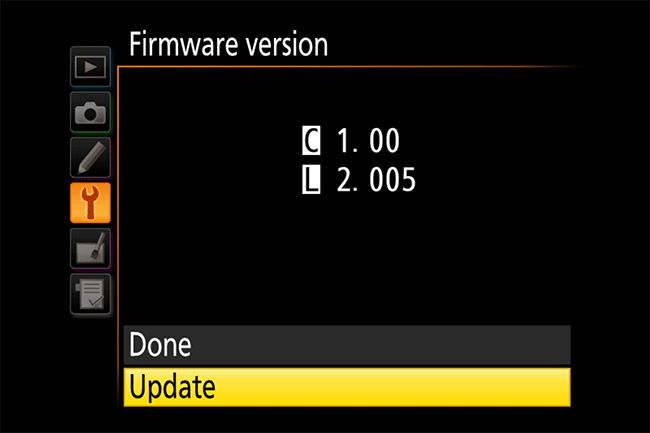 Nikon D810 Firmware Update Option