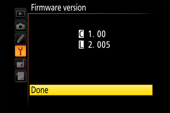 Nikon Firmware Version