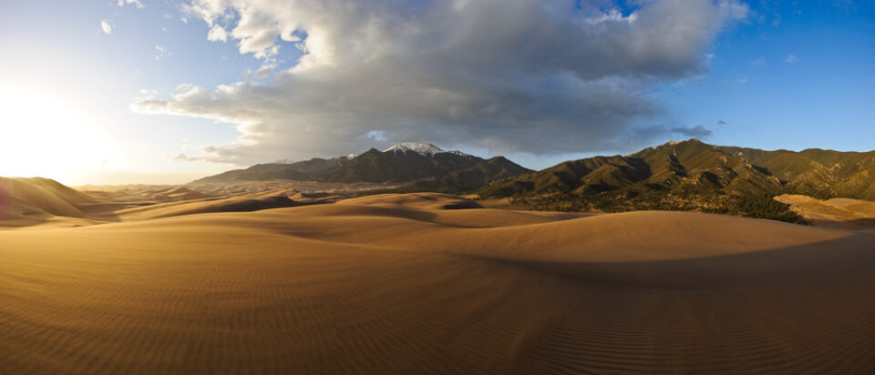 Sand Dunes Sunset Panorama