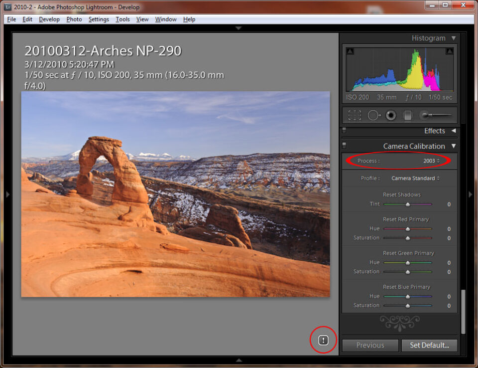 Lightroom 3 Current Process Version