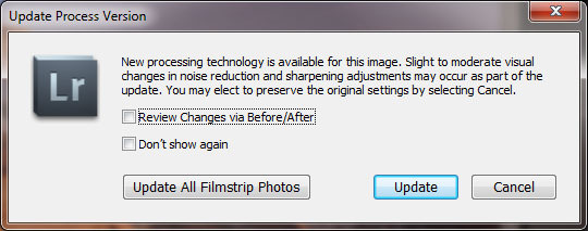 Lightroom 3 Update Process Version Dialog Box