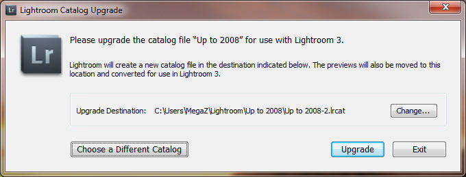 Lightroom Catalog Upgrade