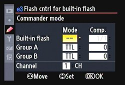 Nikon D700 Commander Mode Menu
