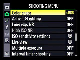 Nikon Shooting Menu