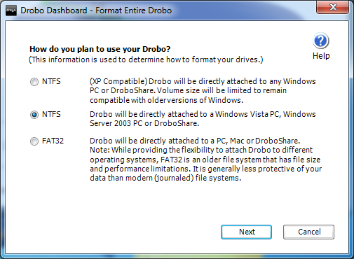 Drobo Dashboard Format Entire Drobo NTFS