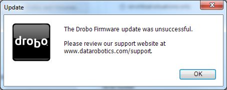 Drobo Firmware Update was Unsuccessful