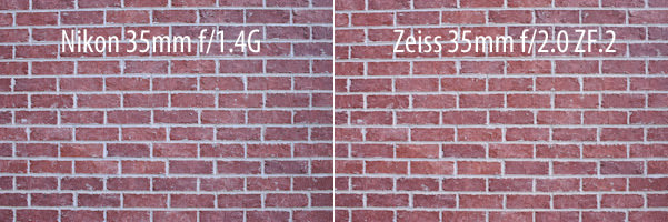 Nikon 35mm f/1.4G vs Zeiss 35mm f/2 ZF.2 Distortion