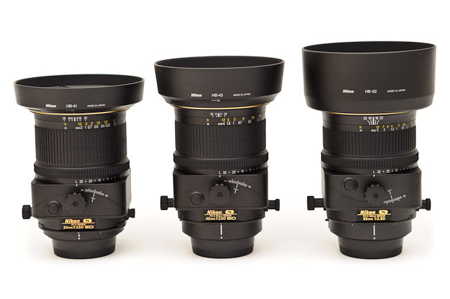 Nikon 24mm PC-E vs Nikon 45mm PC-E vs Nikon 85mm PC-E with hoods