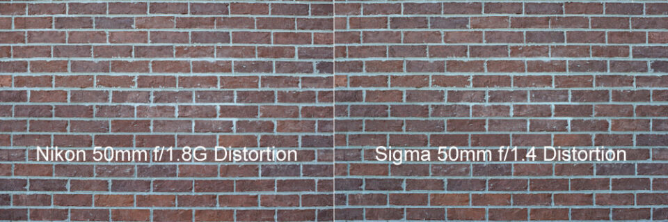 Nikon 50mm f/1.8G vs Sigma 50mm f/1.4 Distortion