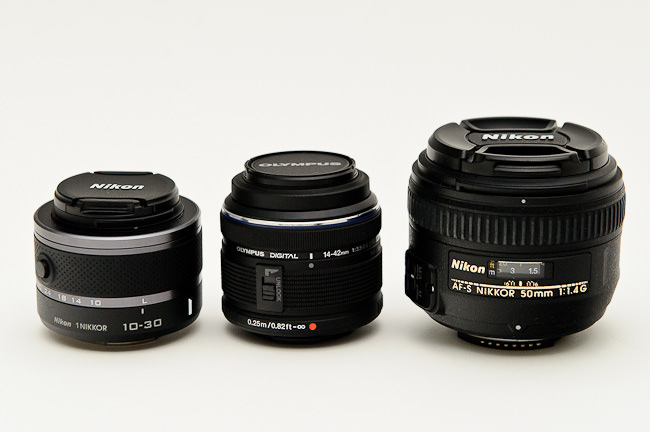 Nikon 1 10-30mm vs Zuiko 14-42mm vs Nikon 50mm f/1.4G