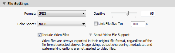 Lightroom Export File Settings