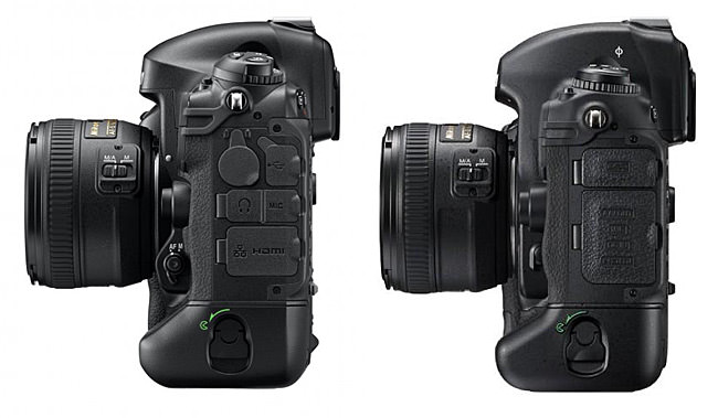 Nikon D4 vs D3s Side View