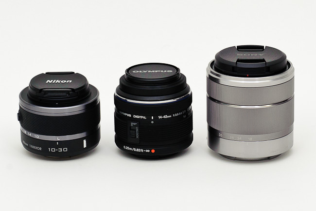 Nikon 1 10-30mm vs Zuiko 14-42mm vs Sony 18-55mm