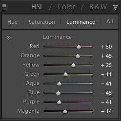 B&W HSL Panel Luminance Adjustment