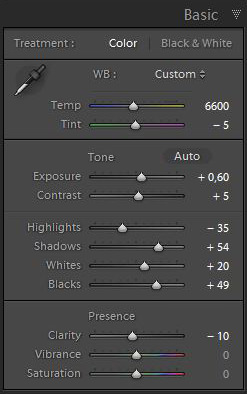 The Basic Panel of Lightroom 4