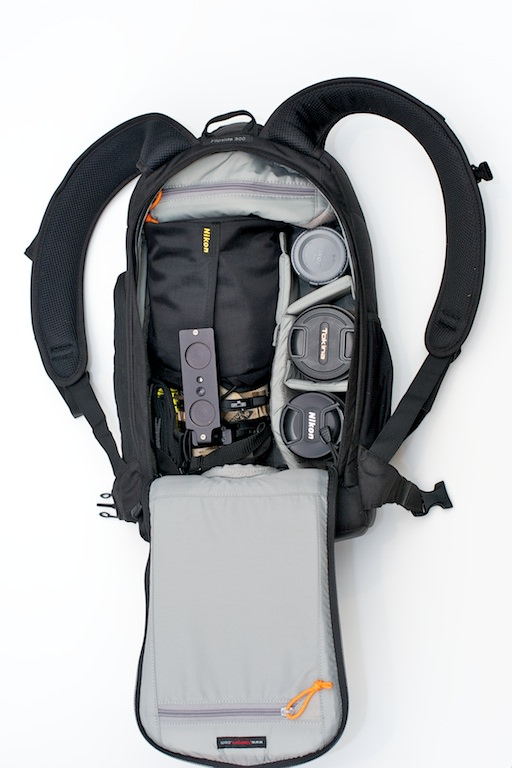 Lowepro Flipside 300 open to show capacity