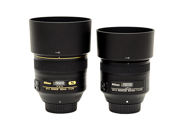 Nikon 85mm f/1.4G vs Nikon 85mm f/1.8G With Lens Hoods