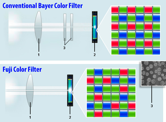 Bayer Color Filter vs Fuji Color Filter