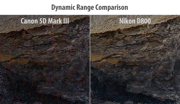 Canon 5D Mark III vs Nikon D800 Dynamic Range Comparison