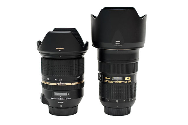 Tamron 24-70mm vs Nikon 24-70mm with hoods