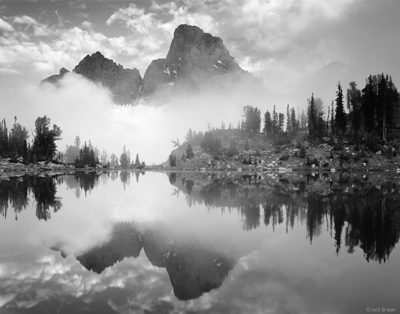 Misty Teton Reflection B/W