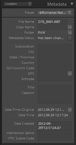 Location Metadata in Lightroom