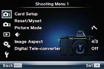 Olympus OM-D E-M5 Shooting Menu 1