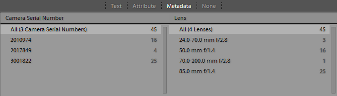 Lightroom Cameras Sorted by Serial Number