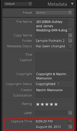 Lightroom Metadata