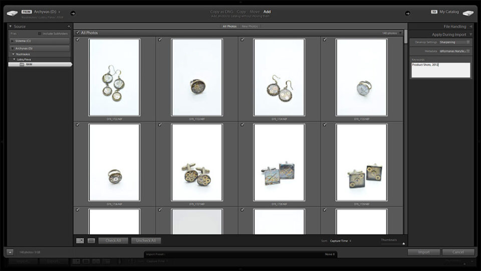 Adobe Photoshop Lightroom Import Window