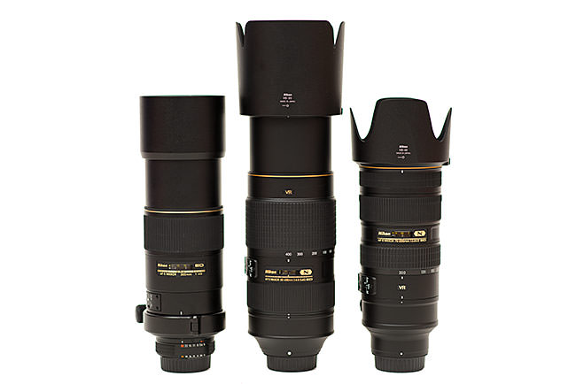 Nikon 300mm f/4D vs Nikon 80-400mm vs Nikon 70-200mm with Lens Hoods