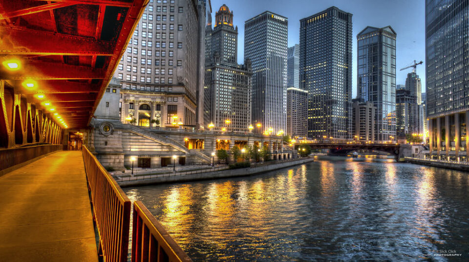 A shot from lower Michigan Ave. by the Chicago river