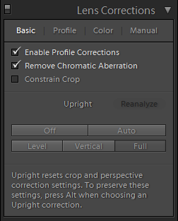 Lightroom Lens Corrections Basic