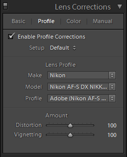 Lightroom Lens Corrections Profile