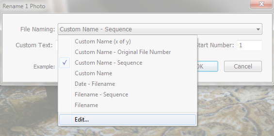 Lightroom Filename Template Editor