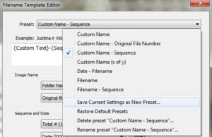 Using Filename Template Editor in Lightroom