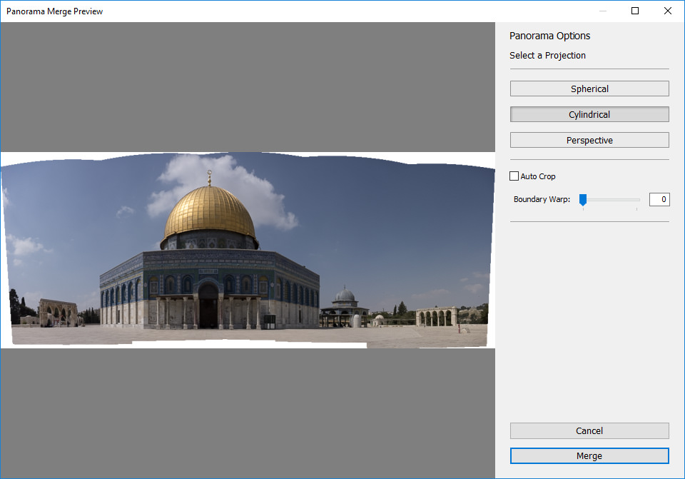 Lightroom Cylindrical Projection