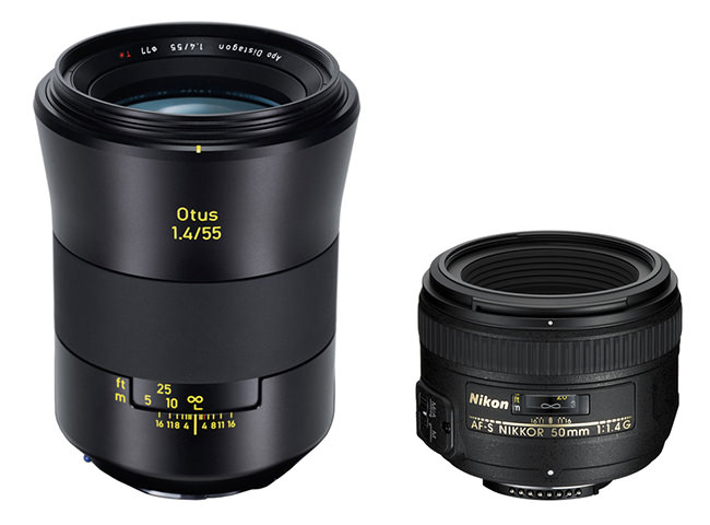 Zeiss Otus 55mm f1.4 vs Nikkor 50mm f1.4 Size Comparison