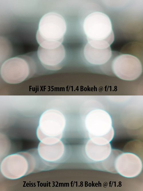 Fuji XF 35mm f/1.4 vs Zeiss Touit 32mm f/1.8 Bokeh Comparison