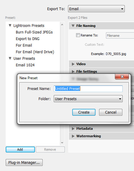 Add New Email Preset in Lightroom