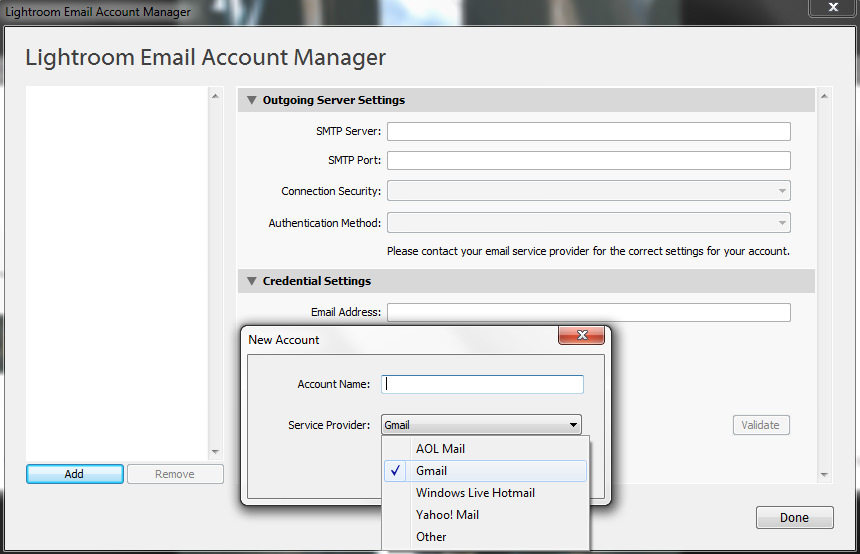 Lightroom Email Account Manager