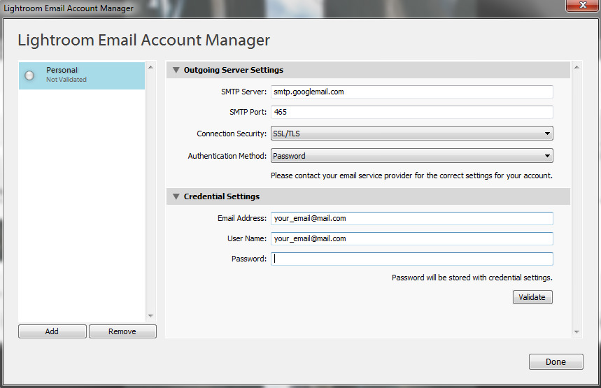 Lightroom Email Account Settings