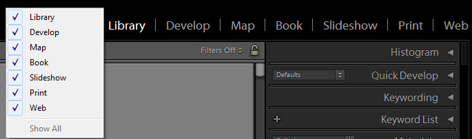 Lightroom Module Visibility