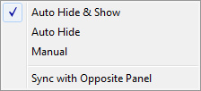 Panel Hide and Show options
