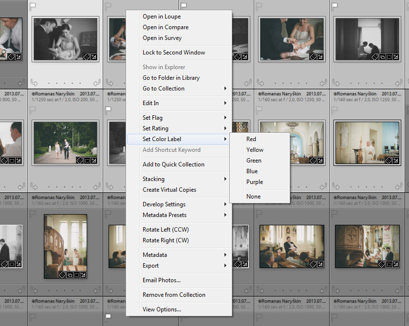 Image Grid Right-Click Menu in Lightroom