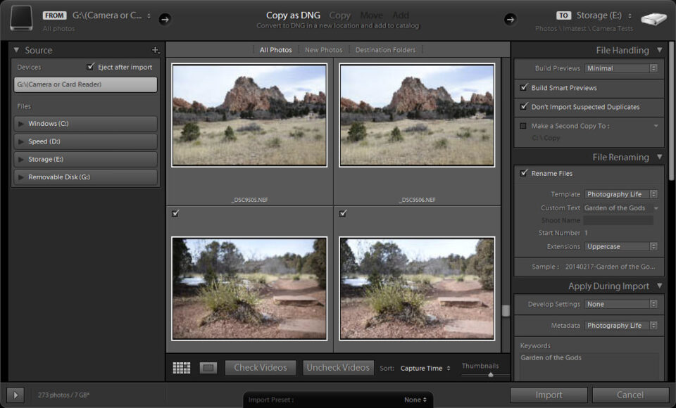 Lightroom Import Screen