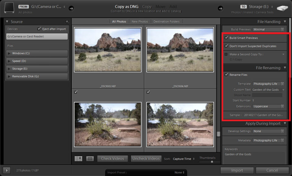 Lightroom Import Screen Handling and Renaming
