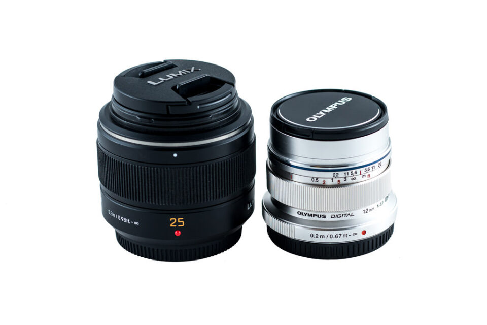 Panasonic Leica 25mm f1.4 and Olympus 12mm f2