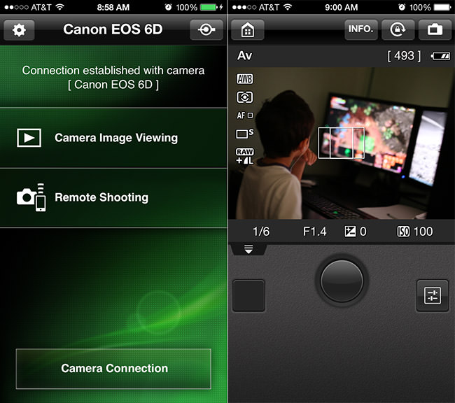 Canon 6D WiFi Live View