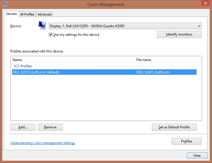 Windows Color Management Remove Profiles